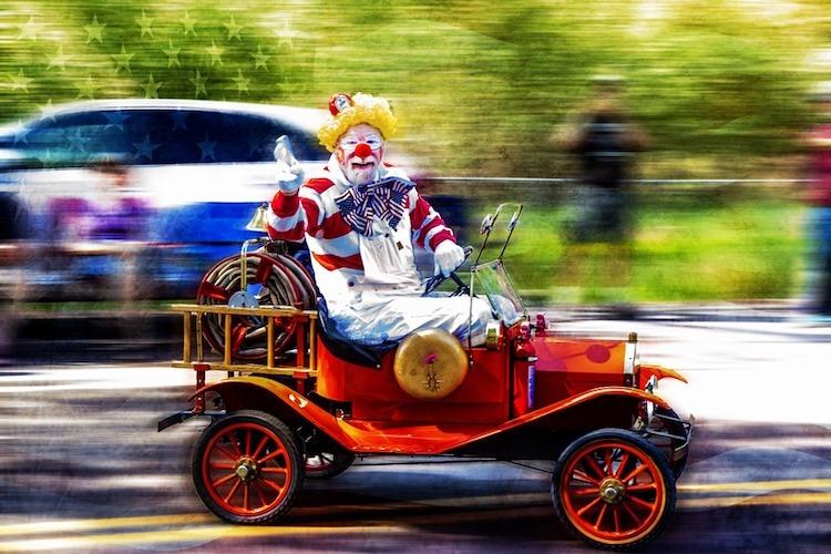 clown in a car