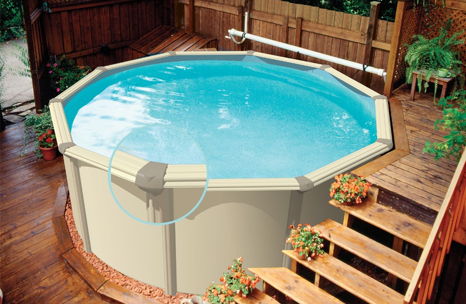 42 above ground pools with decks tips ideas design for Above ground pool bar ideas