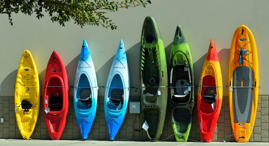 a line of kayaks