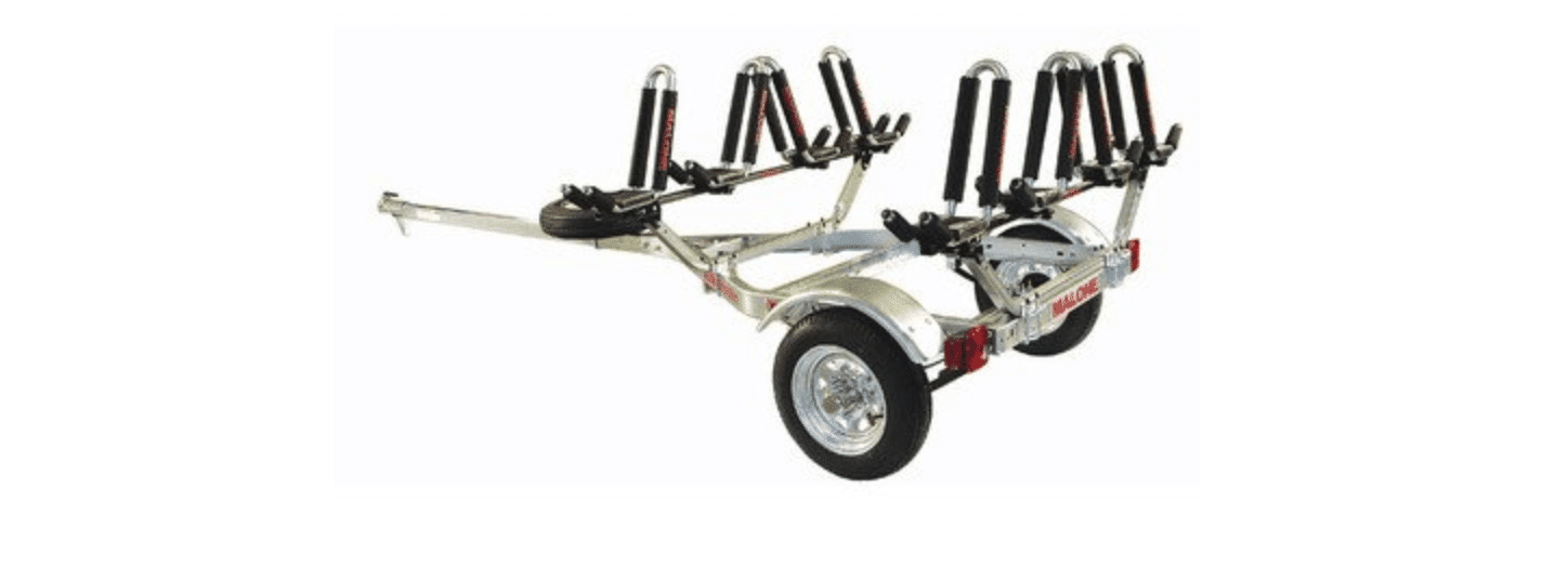 Malone Auto Racks Microsport Trailer Kayak Transport Package with 4 Malone J-Pro 2 Kayak Carriers