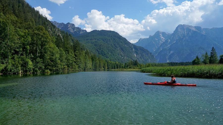 kayak and mountains