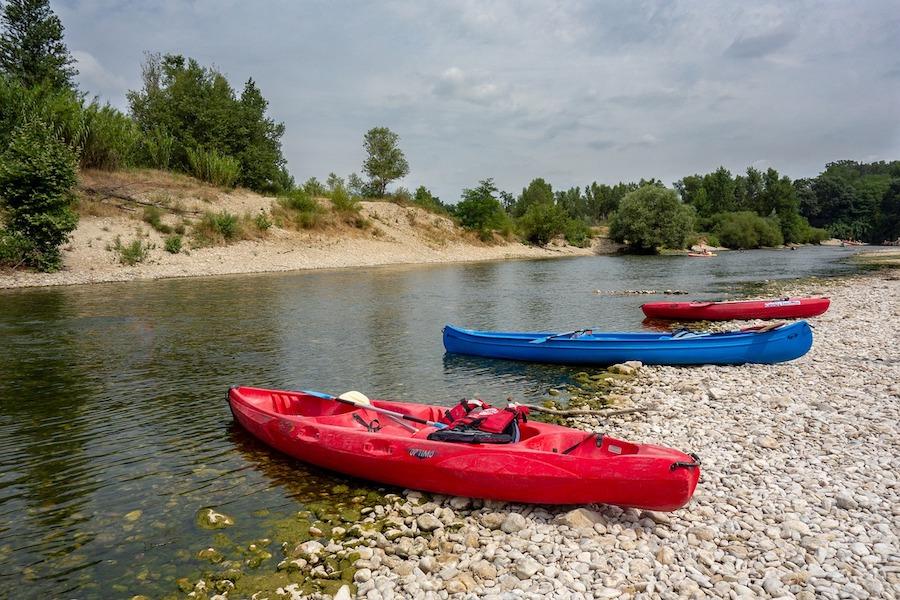 kayaks on the shingle