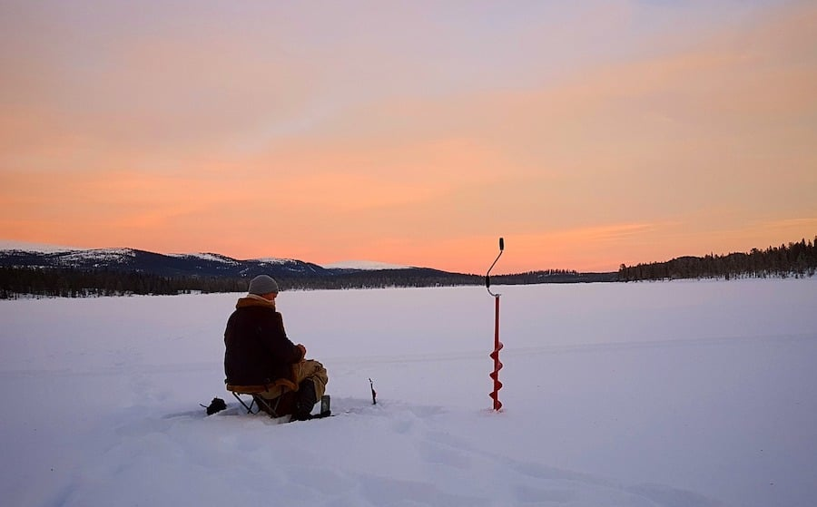 ice fishing dusk