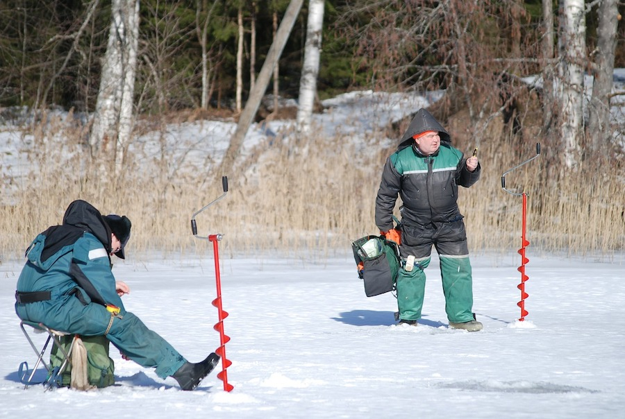 ice fishing men
