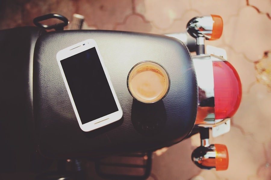 motorcycle and phone