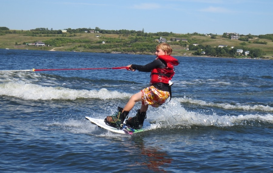 boy on wakeboard