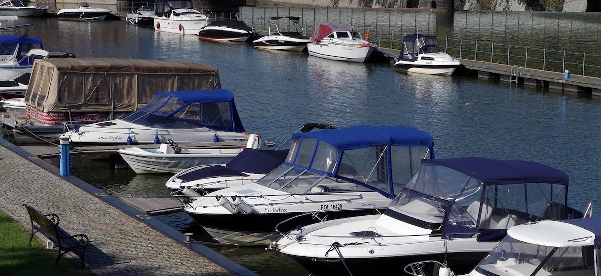 moored motorboats