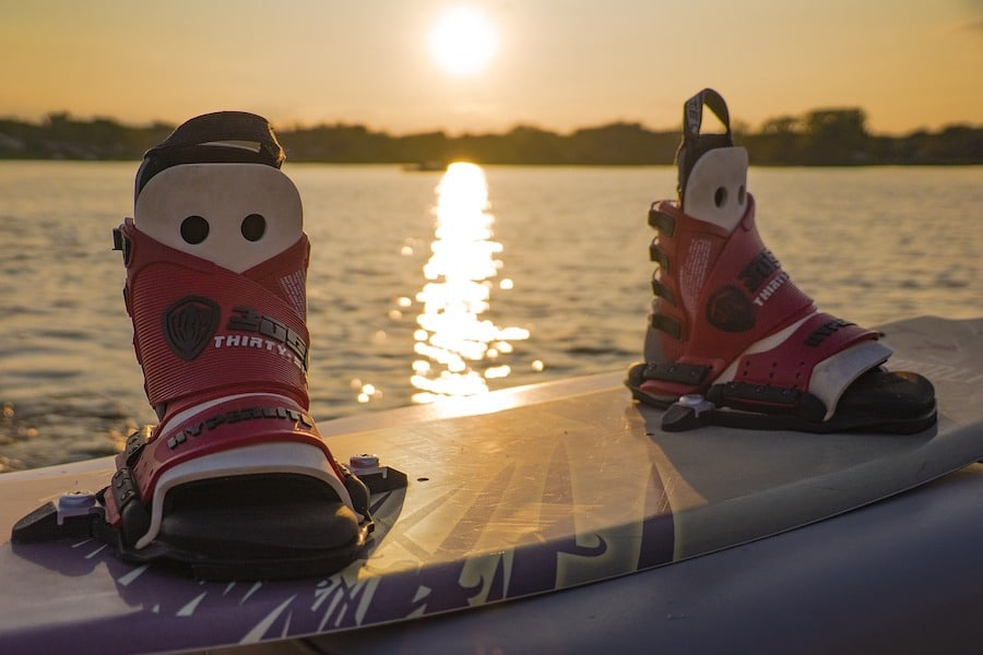 wakeboarding boots and board