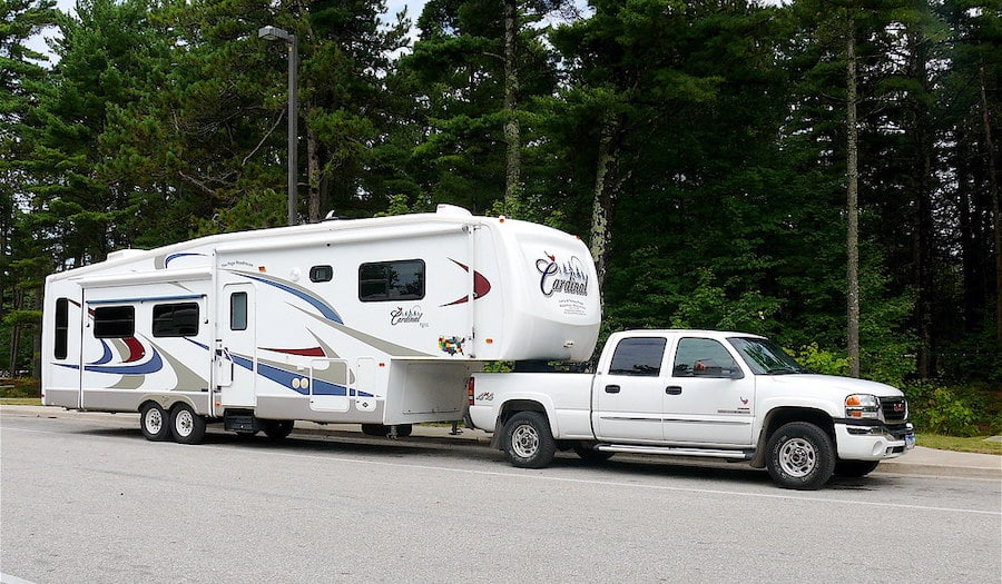 comfortable 5th wheel Rv towing