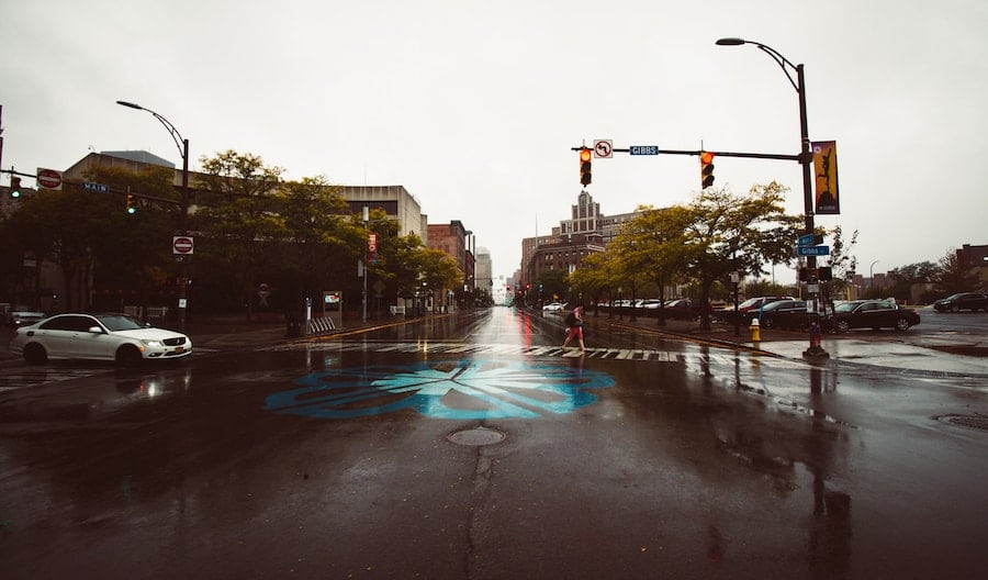 intersection in the rain
