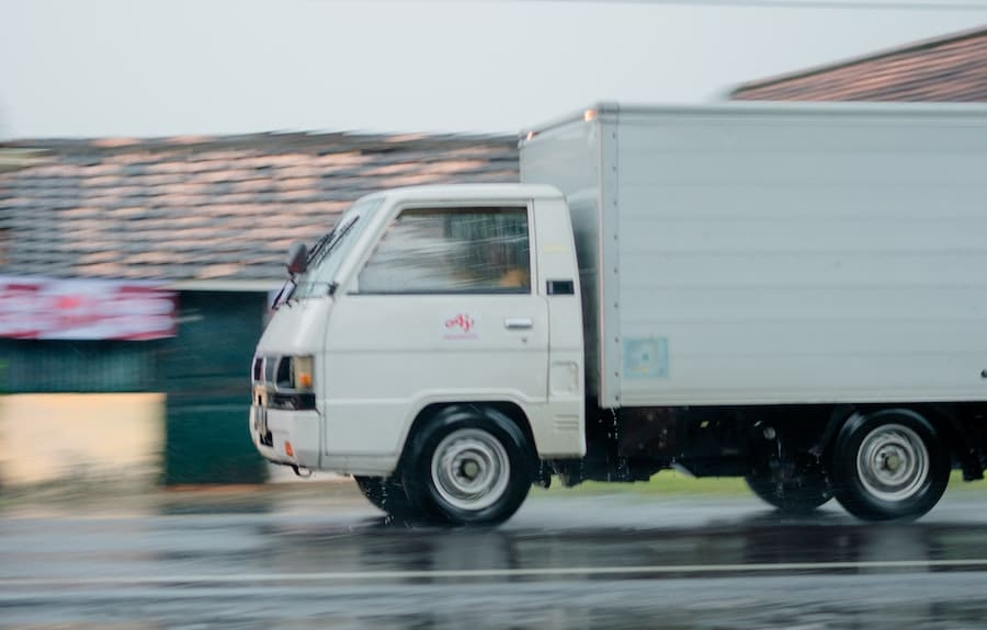 truck in the rain